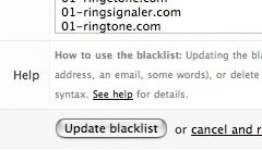 A screenshot of the blacklist page in SimpleLog.