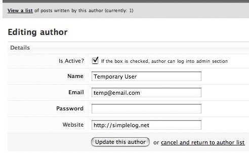 A screenshot of editing an author in SimpleLog.