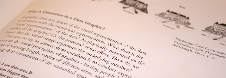 A photo of page 55 from The Visual Display of Quantitative Information by Edward Tufte.