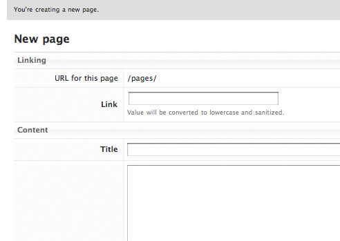 A screenshot of creating a new static page in SimpleLog.
